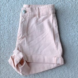 Pastel pink high waisted jean shorts